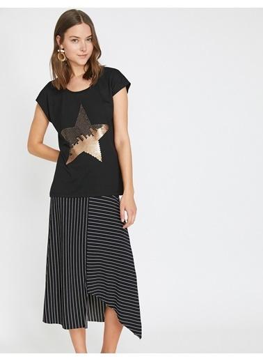 Koton Pul Detaylı T-Shirt Siyah